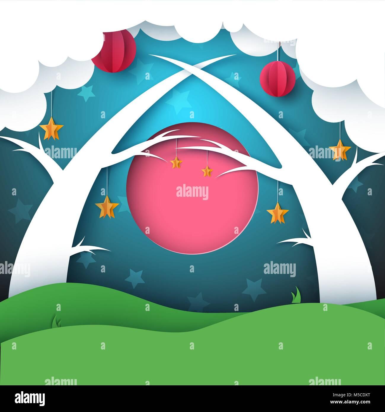 Papier Dessin Anime Nuit Paysage Forestier Lune Nuage Soleil