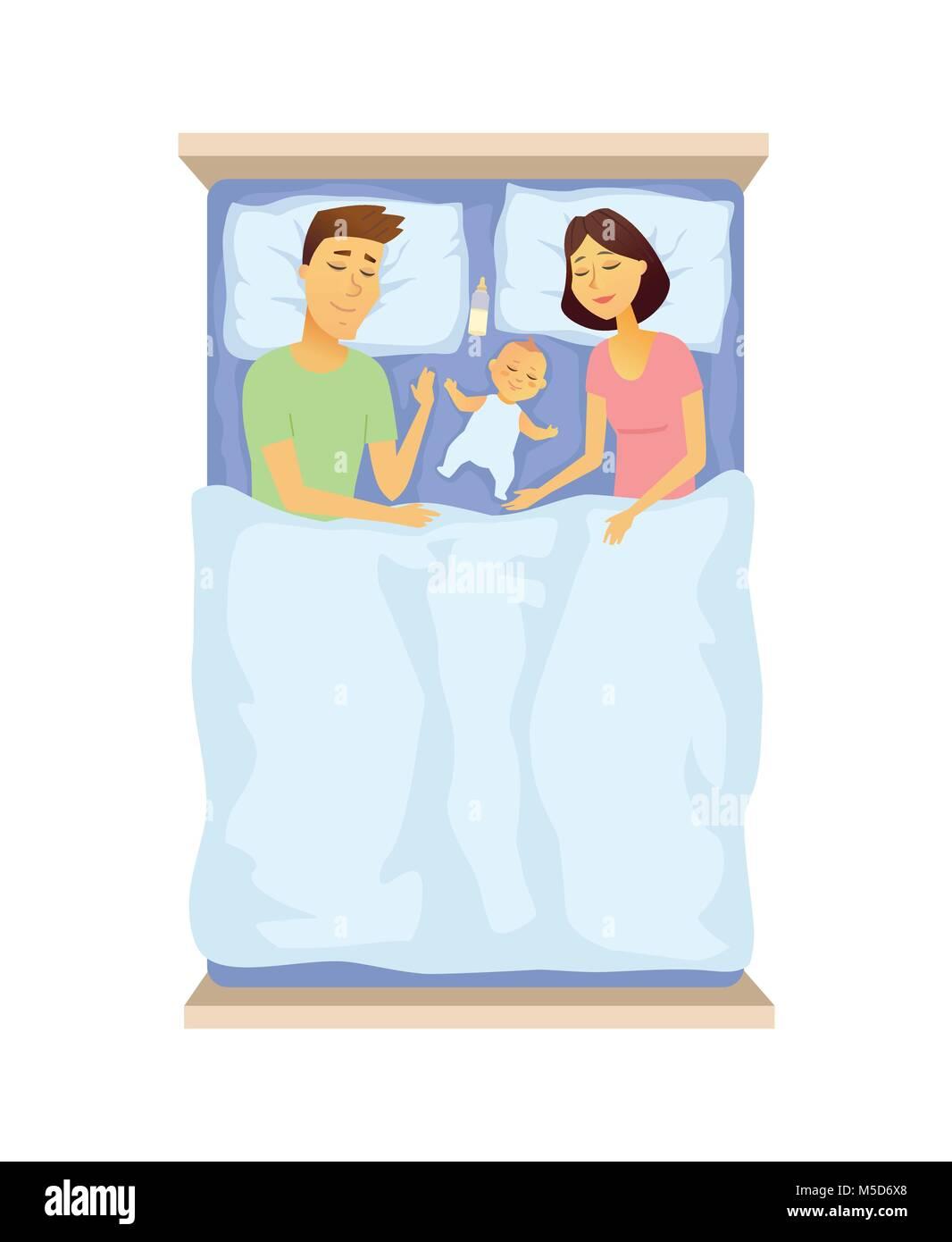Les jeunes parents et le bébé dormir - cartoon caractères des gens illustration isolé sur fond blanc. Une image Illustration de Vecteur