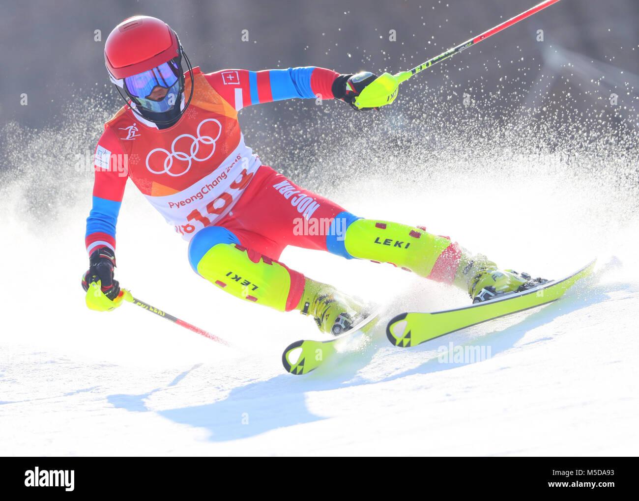 Pyeongchang, Corée du Sud. 22 Février, 2018. Jeux olympiques, le ski alpin, le slalom masculin, première Photo Stock