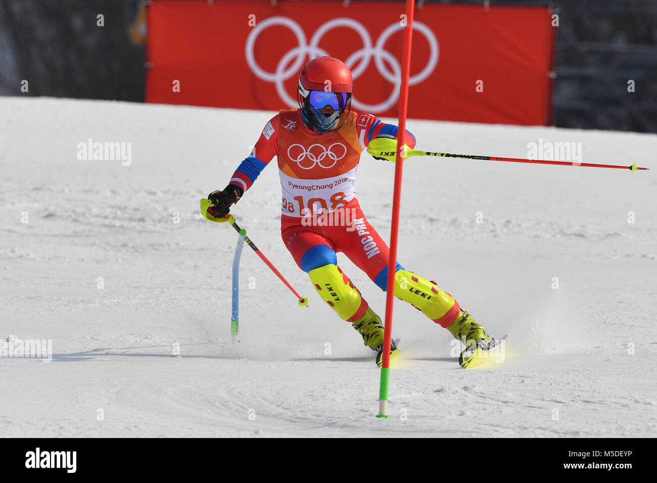 CHOE Myong Gwang (PRK), l'Aktion. Ski alpin, Slalom Hommes, ski alpin, Slalom der Herren am 22.02.2018 centre Photo Stock