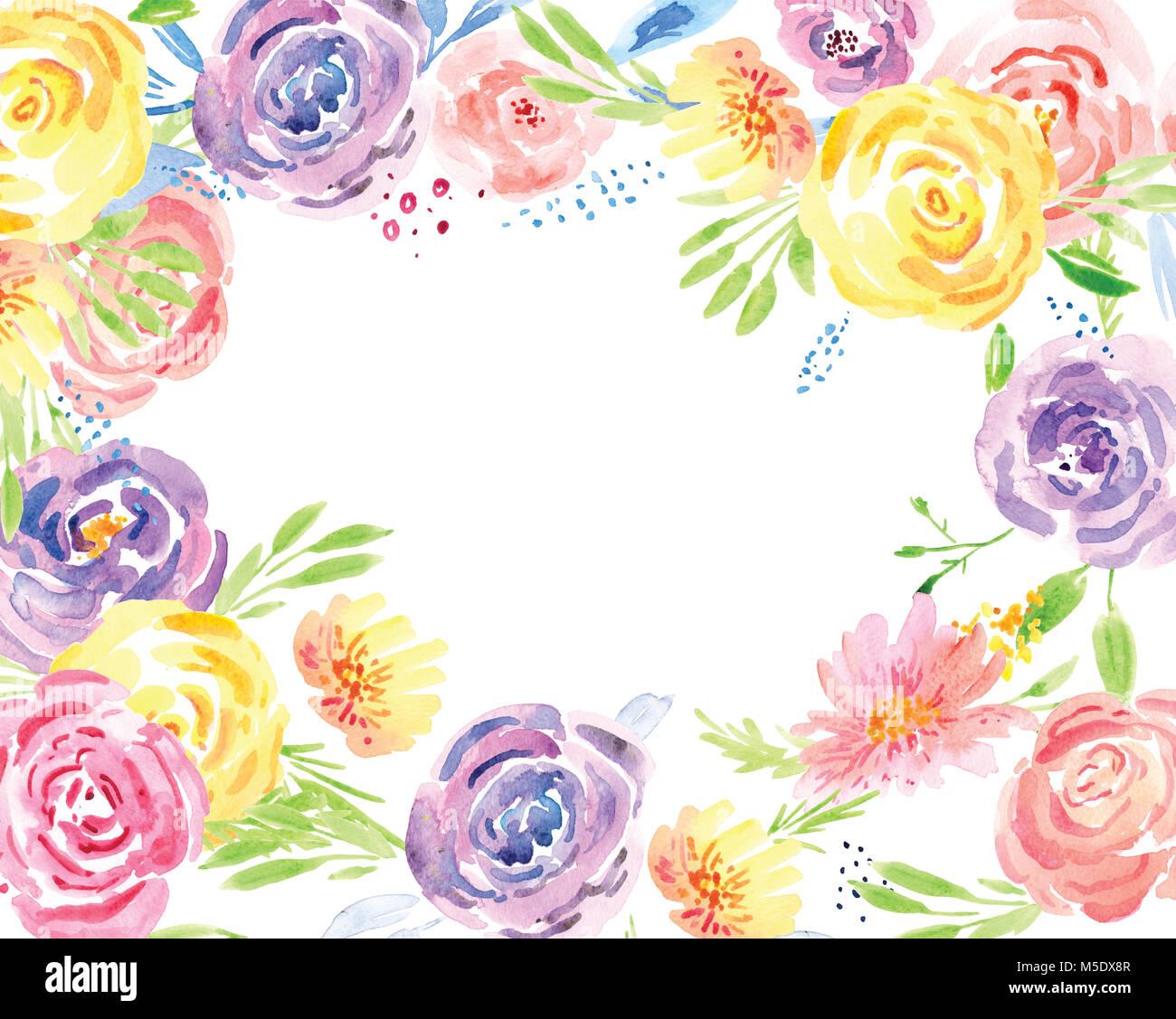 Fleur de printemps Collier Aquarelle bouquets de fleurs peintes à la main. Photo Stock
