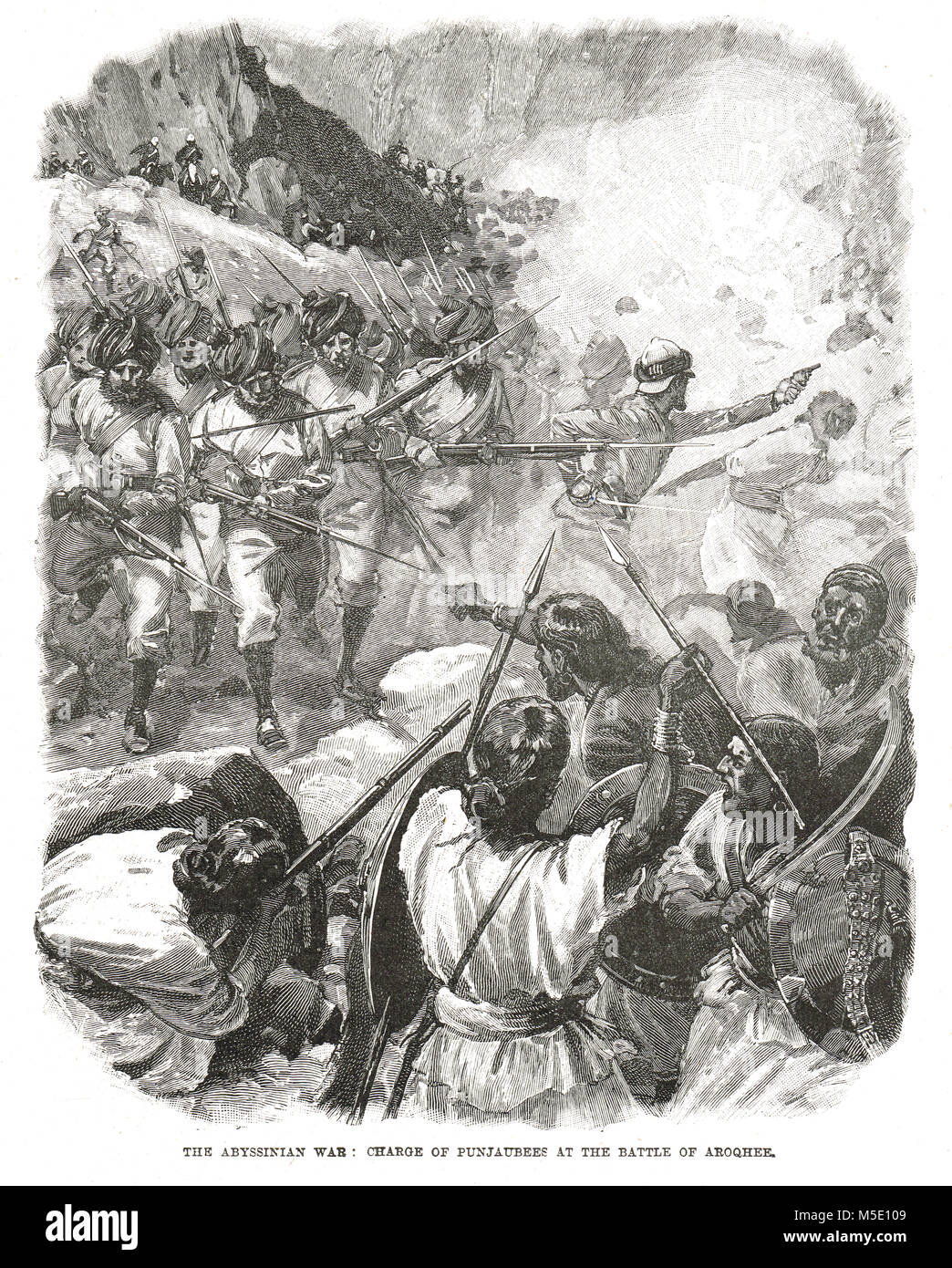 Charge à Arogye les Punjabis, La Bataille de Magdala, avril 1868, l'expédition britannique à Photo Stock