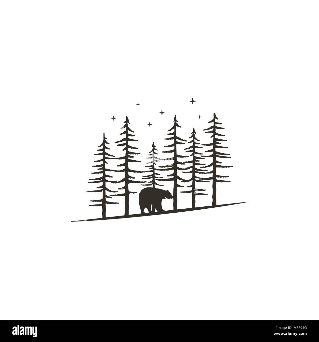 Vintage concept de forêt à la main avec l'ours. Design monochrome noir pour l'impression, t shirts, tasses de voyage, Illustration de Vecteur