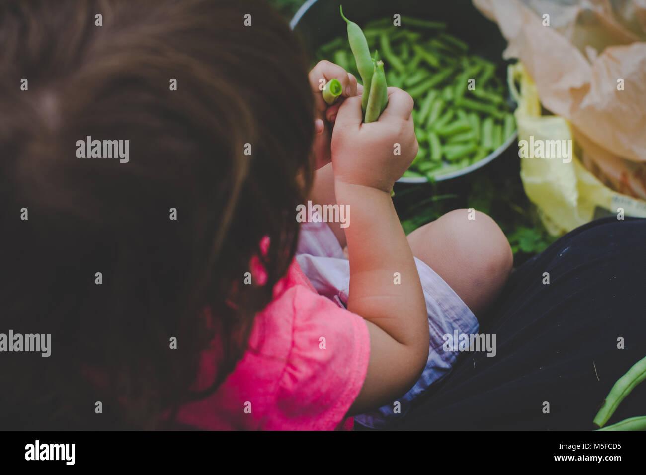 Une jeune fille s'enclenche haricots verts frais dans un pot. Photo Stock