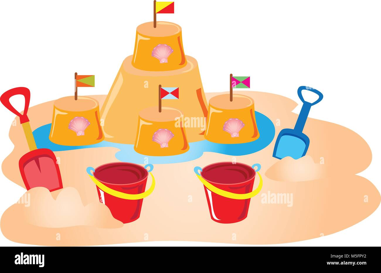 Un château de sable avec des coquillages et des drapeaux, construits avec un godet de childs et spade Photo Stock