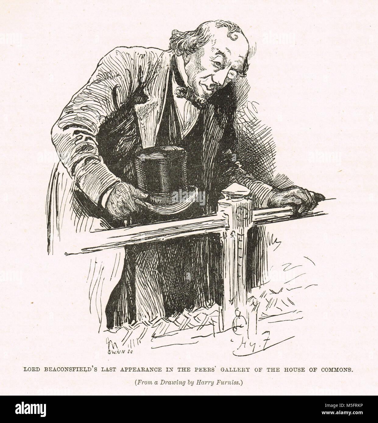 Benjamin Disraeli's dernière apparition dans la galerie des pairs, de la Chambre des communes, vers 1881 Photo Stock
