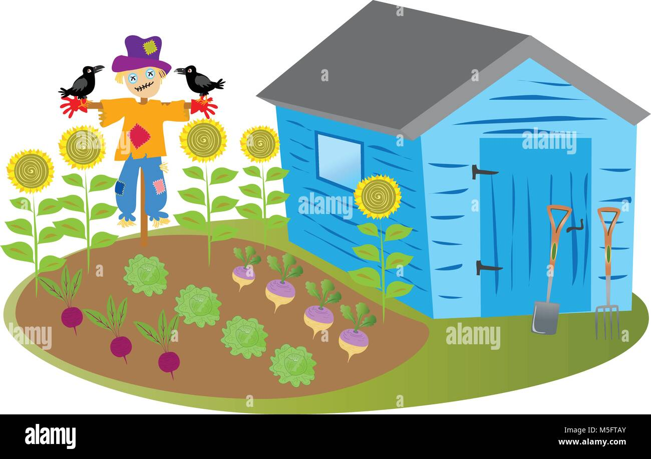 Un dessin de cabane de jardin avec un potager et une scarcrwo avec les corneilles et quelques ...