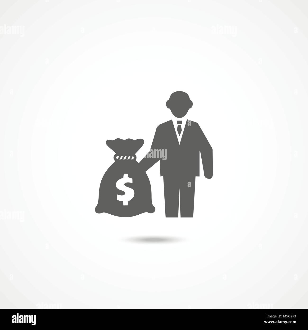 L'icône de l'investisseur sur blanc Photo Stock