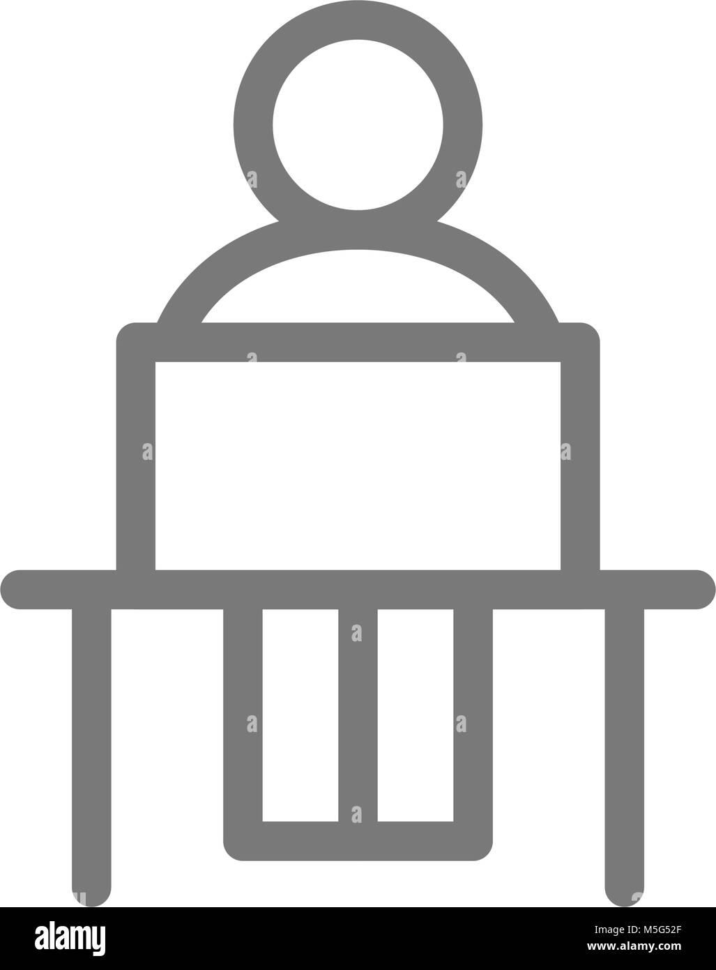 Homme simple est assis sur le lieu de travail avec l'icône de la ligne de l'ordinateur portable. Symbole et signe vector illustration design. Isolé sur fond blanc Illustration de Vecteur