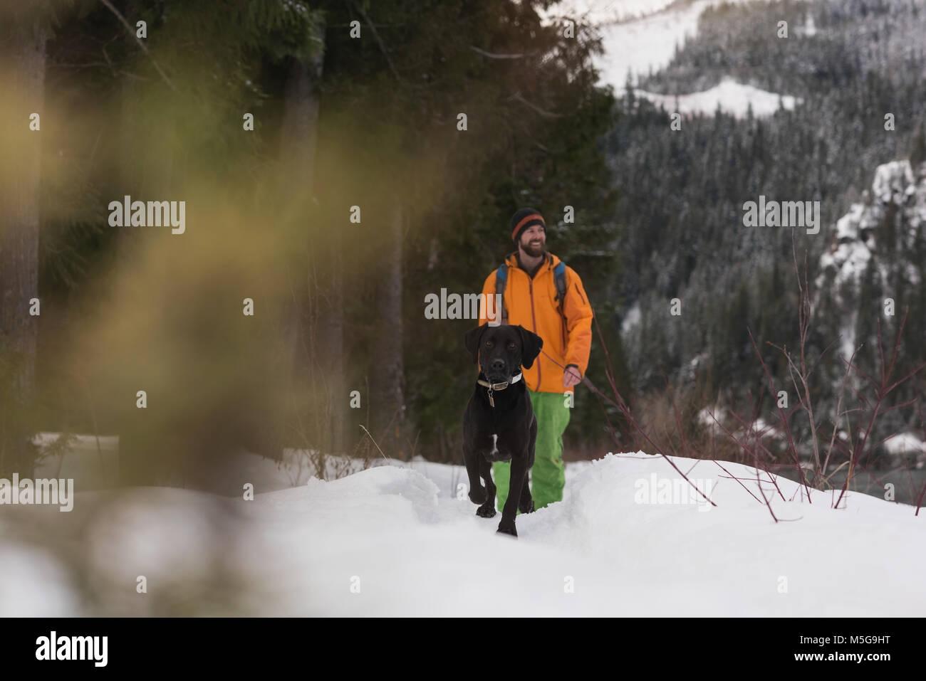 Homme marchant avec son chien sur un paysage enneigé Photo Stock