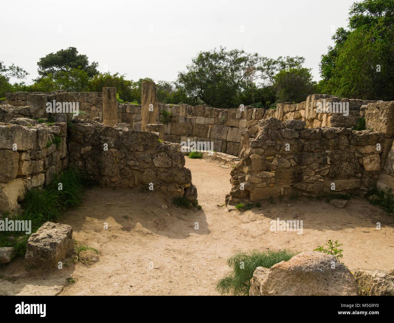 Ruines du Grand Hall Building avec bains dans l'objet de fouilles ancienne ville romaine de Salamine Famagouste Photo Stock