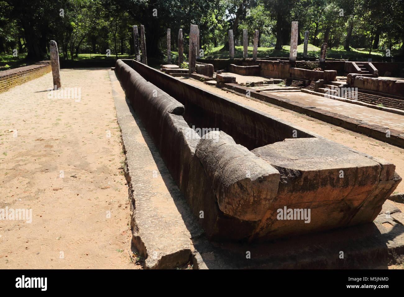 Anuradhapura North Central Province Sri Lanka Réfectoire Monastère Abhayagiri Ruins Banque D'Images