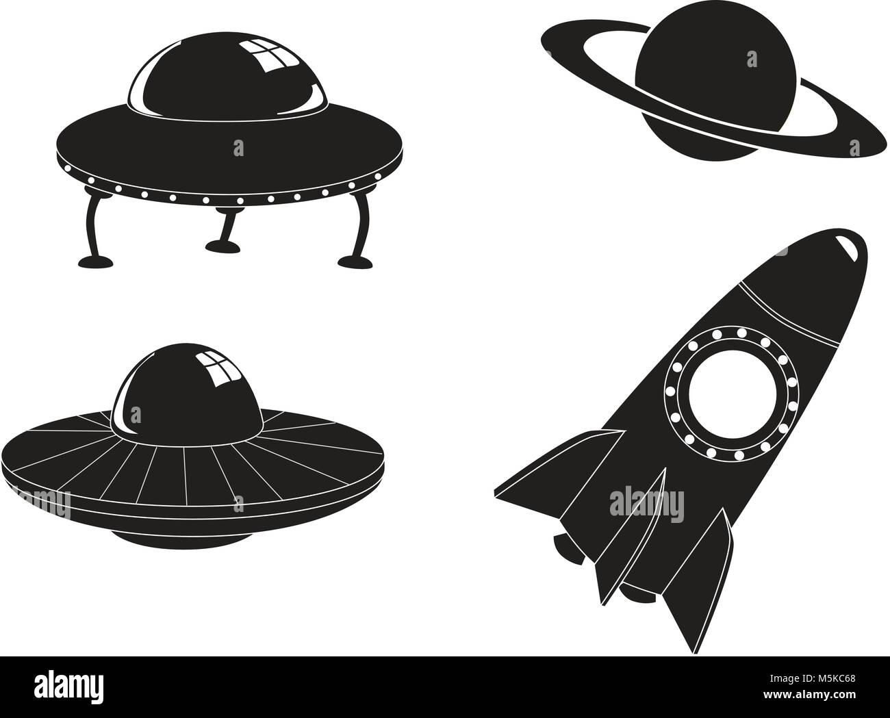 Les icônes de l'espace Voyage Illustration de Vecteur