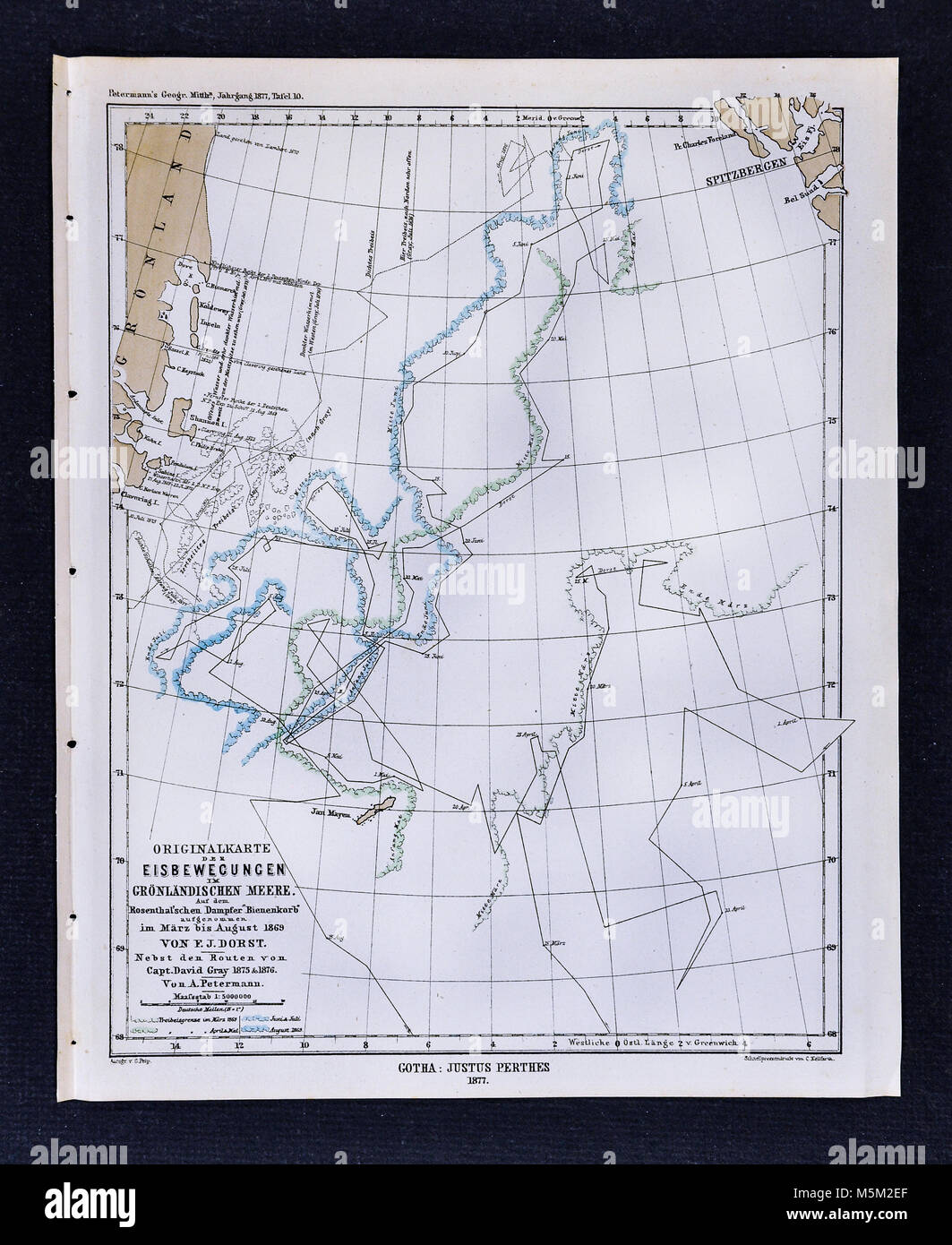 1877 - Carte Mittheilungen Petermann icebergs du Groenland Photo Stock