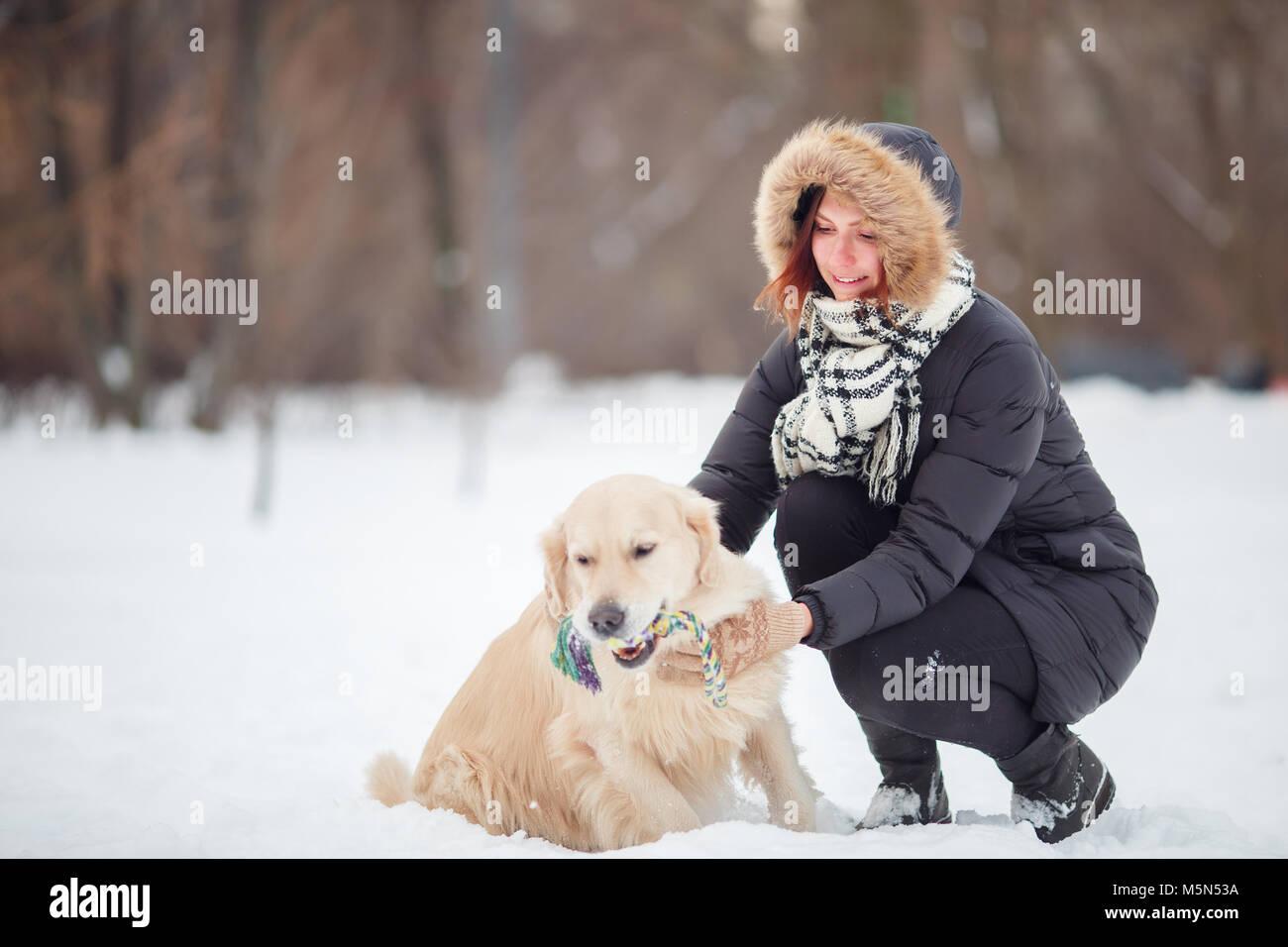 Photo de femme accroupie à côté de labrador avec jouet dans les dents dans winter park Photo Stock