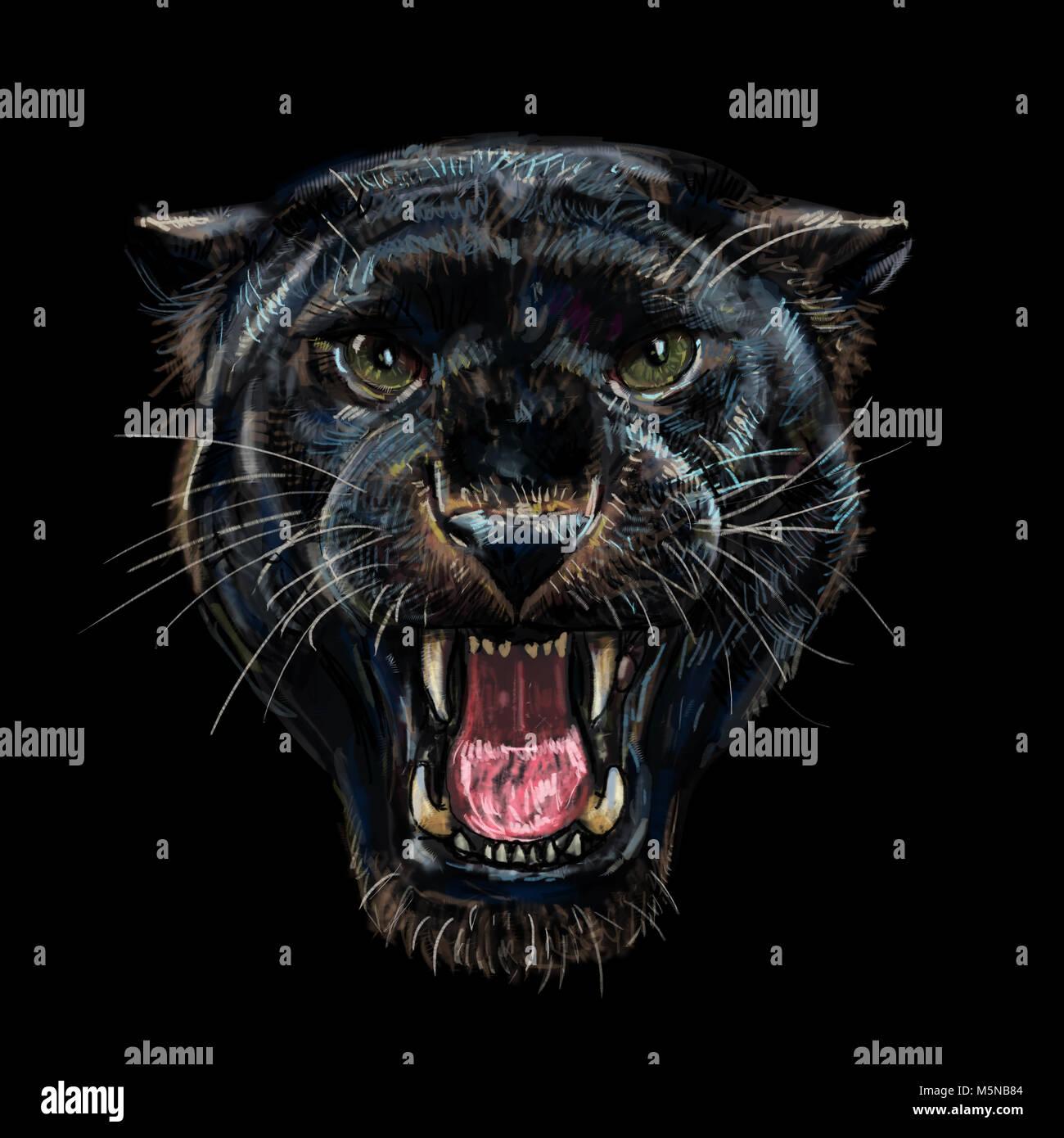 Black Jaguar Growl: Roaring Panthère Noire Sur Fond Noir,peinture Numérique
