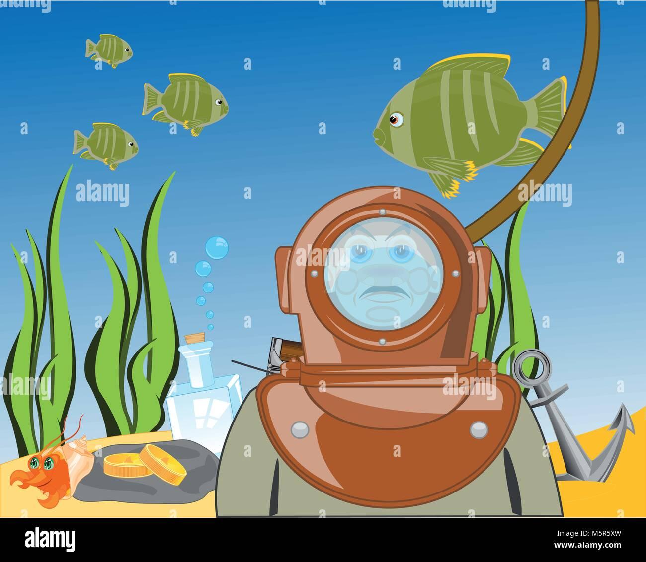Diver sur jour de l'océan.Vector illustration Photo Stock