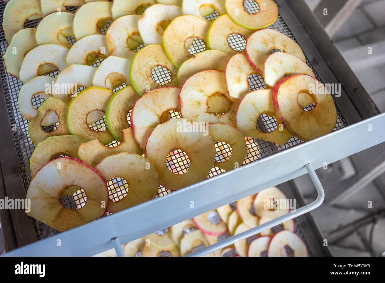 Les pommes sont tranchés et placés dans un sèche-linge Photo Stock