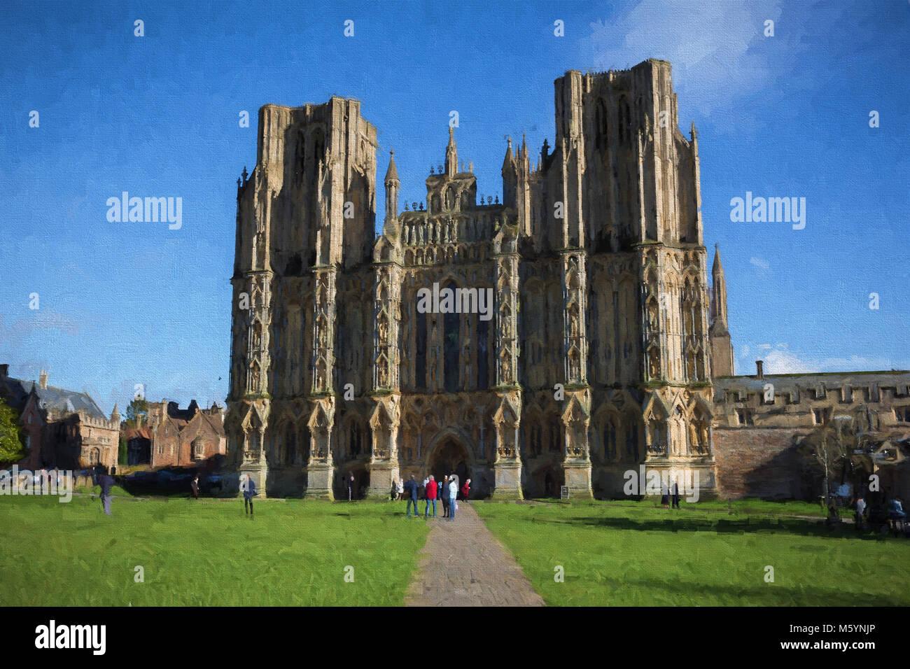 Wells Cathedral historique bâtiment Somerset anglais illustration comme la peinture à l'huile Photo Stock