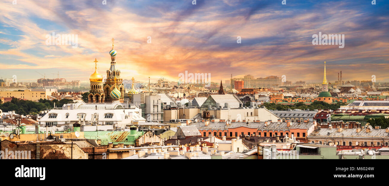 Vue aérienne de St Petersbourg, Russie Photo Stock