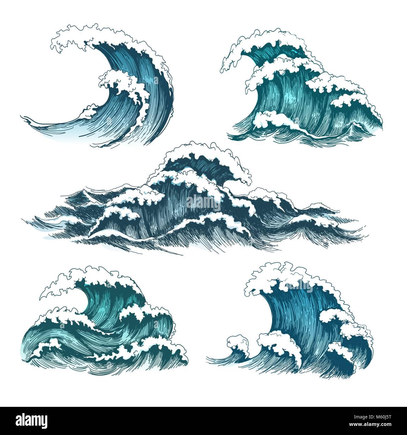 Les vagues de la mer dessin anim vintage vagues de temp te des mar es oc aniques isol sur - Vague coloriage ...