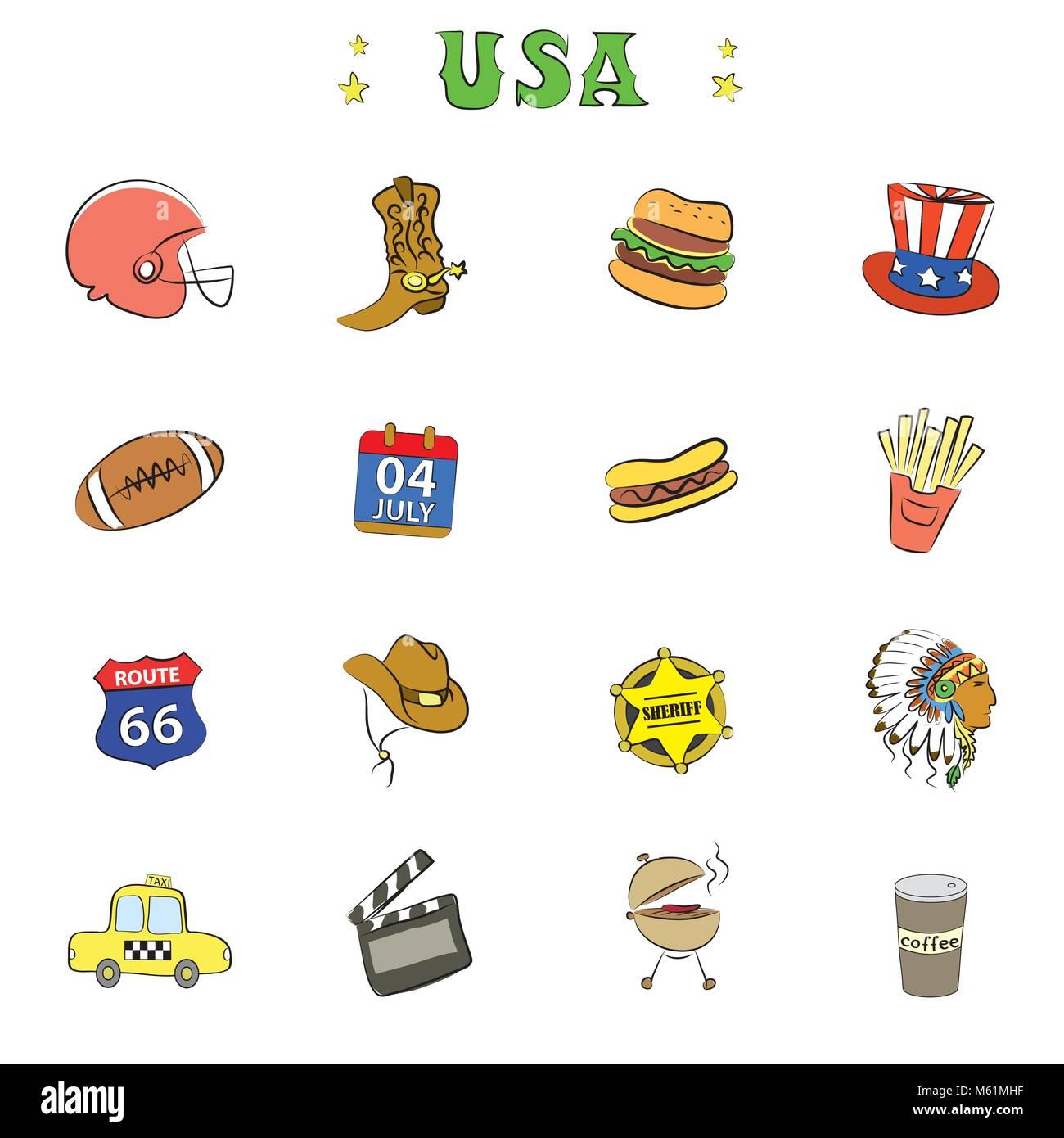 Les icônes de la culture américaine ou d'objets Illustration de Vecteur
