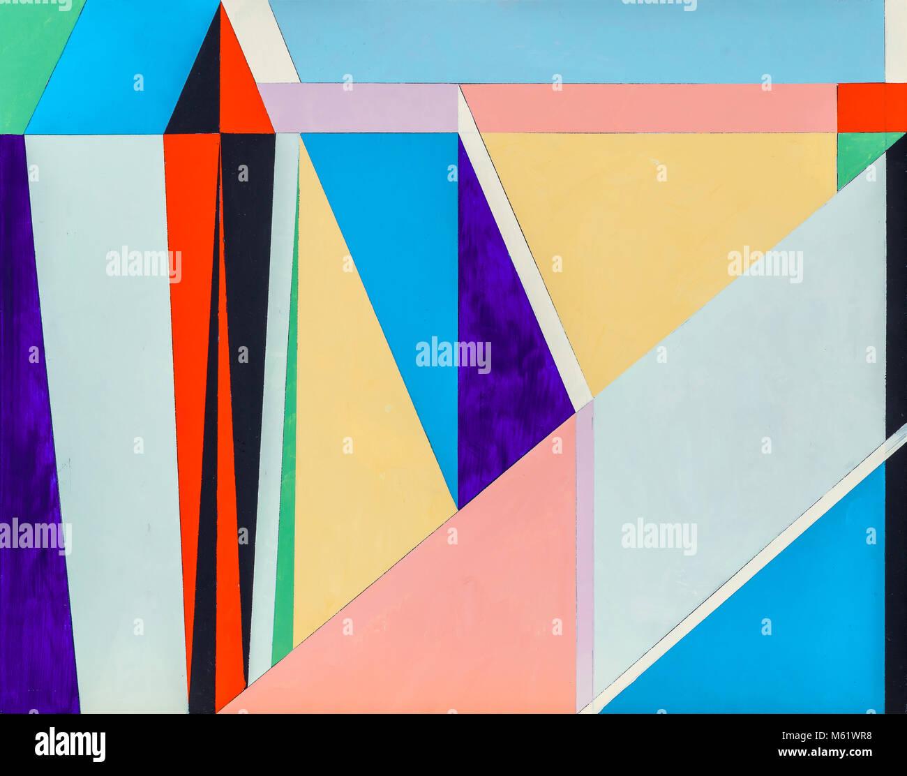 Un tableau abstrait, l'abstraction géométrique avec de nombreux éléments triangulaires. Photo Stock
