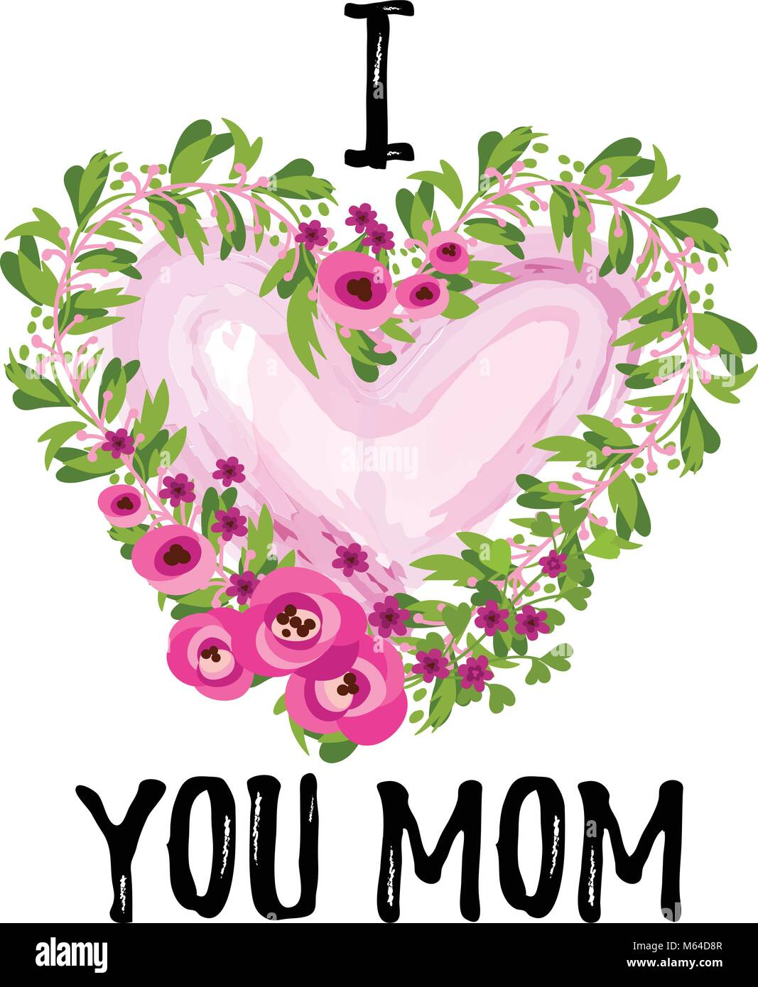 Vector Illustration Je Taime Maman Texte Mothers Day