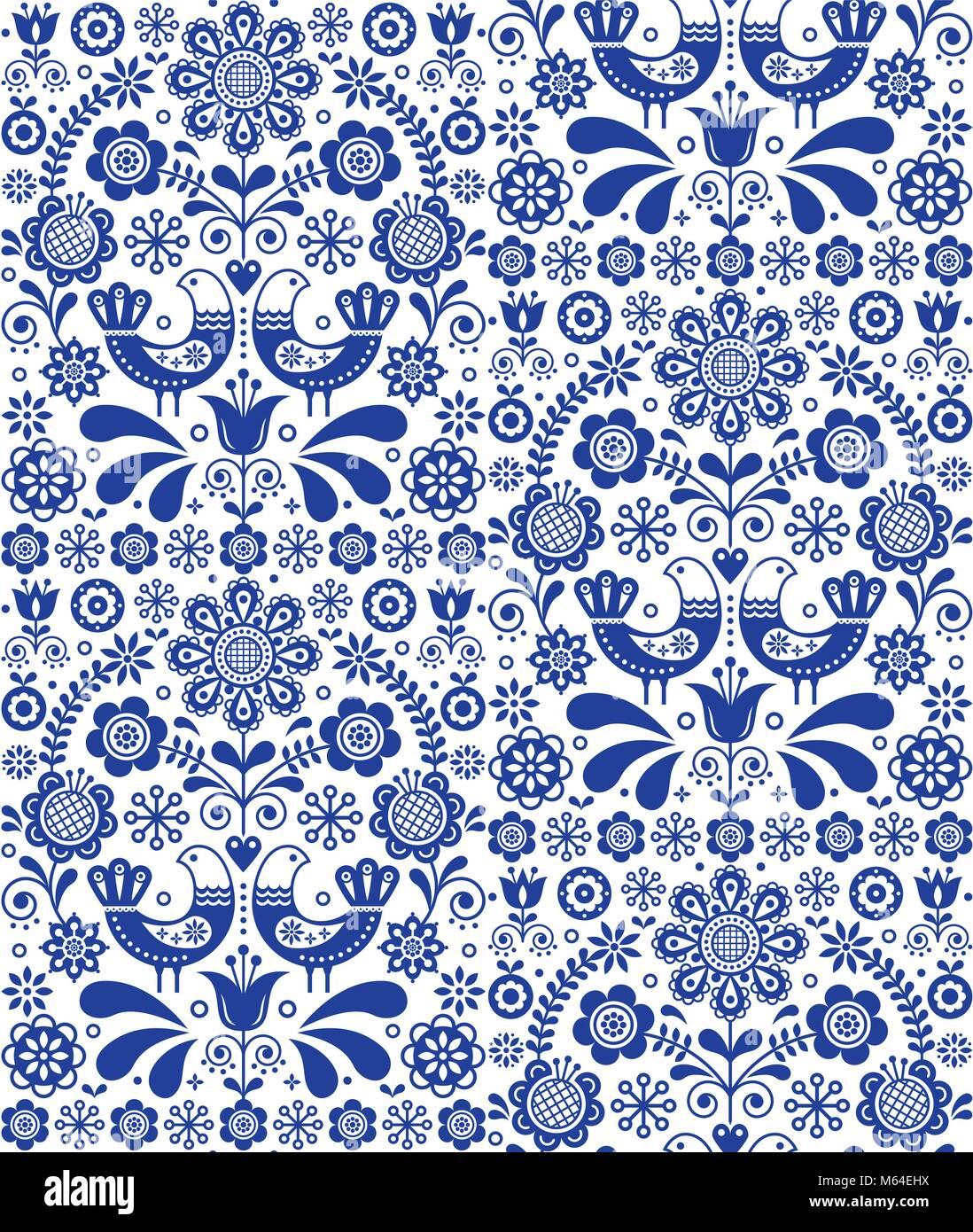 Seamless Vector Art Folk Scandinave Motif Floral Fond
