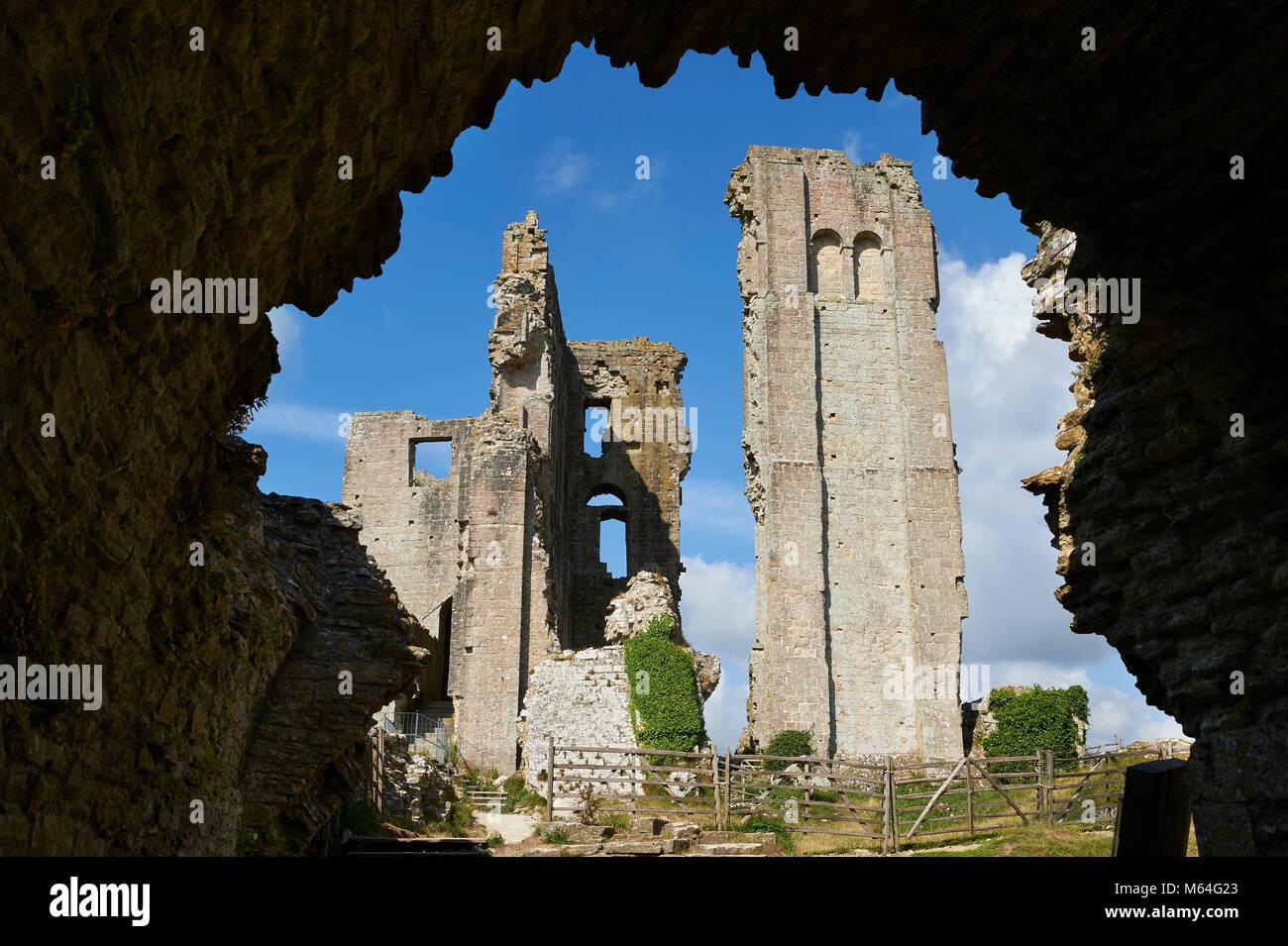 Château de Corfe médiévale garder jusqu'cloase, construit en 1086 par Guillaume le Conquérant, Photo Stock