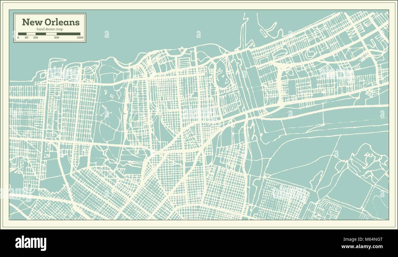 La Nouvelle Orleans En Louisiane Usa Plan De Ville En Style Retro Une Carte De Noel Vector Illustration Image Vectorielle Stock Alamy