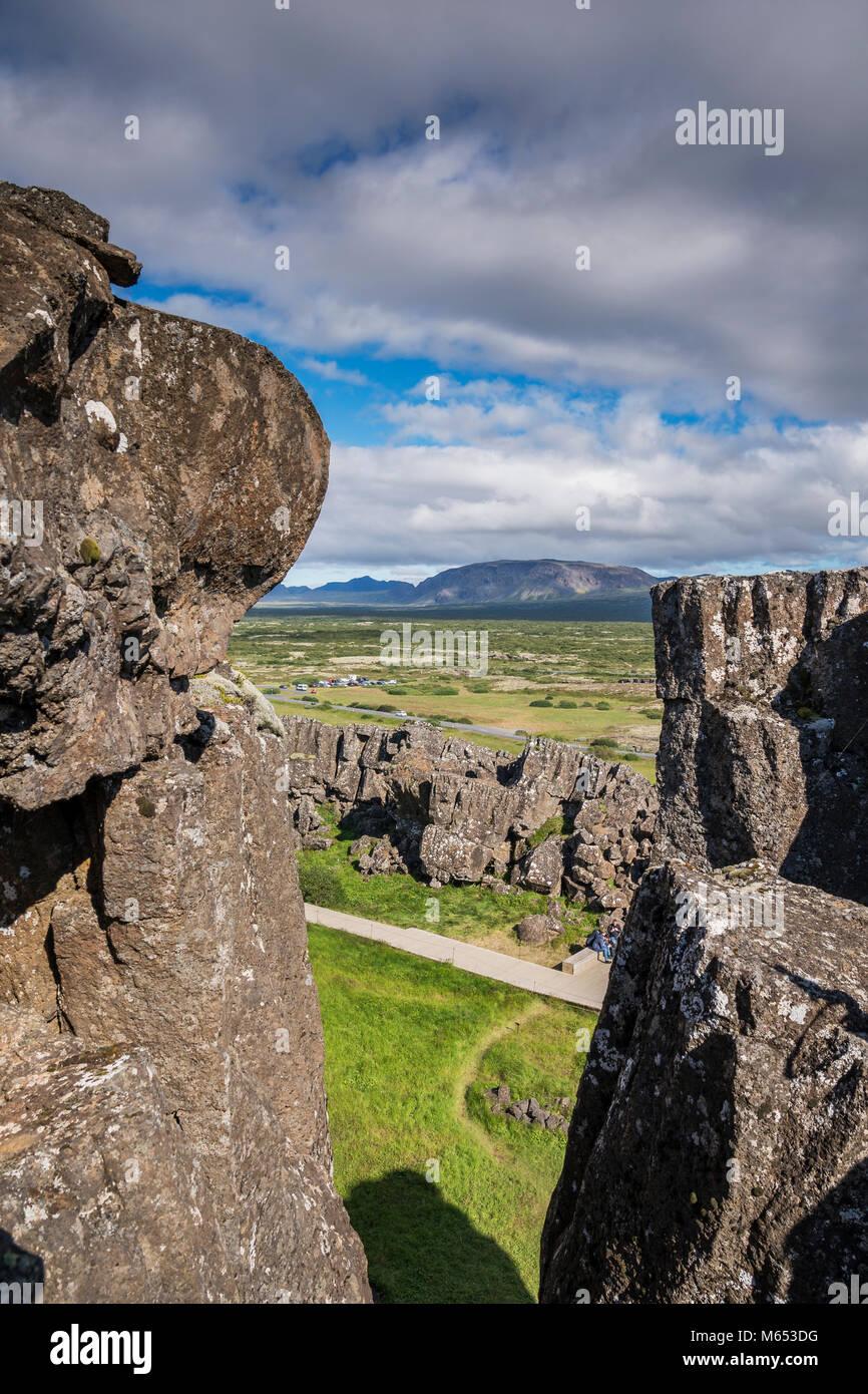 Almannagja fissure. Le Parc National de Thingvellir, Site du patrimoine mondial de l'Unesco, de l'Islande. Photo Stock