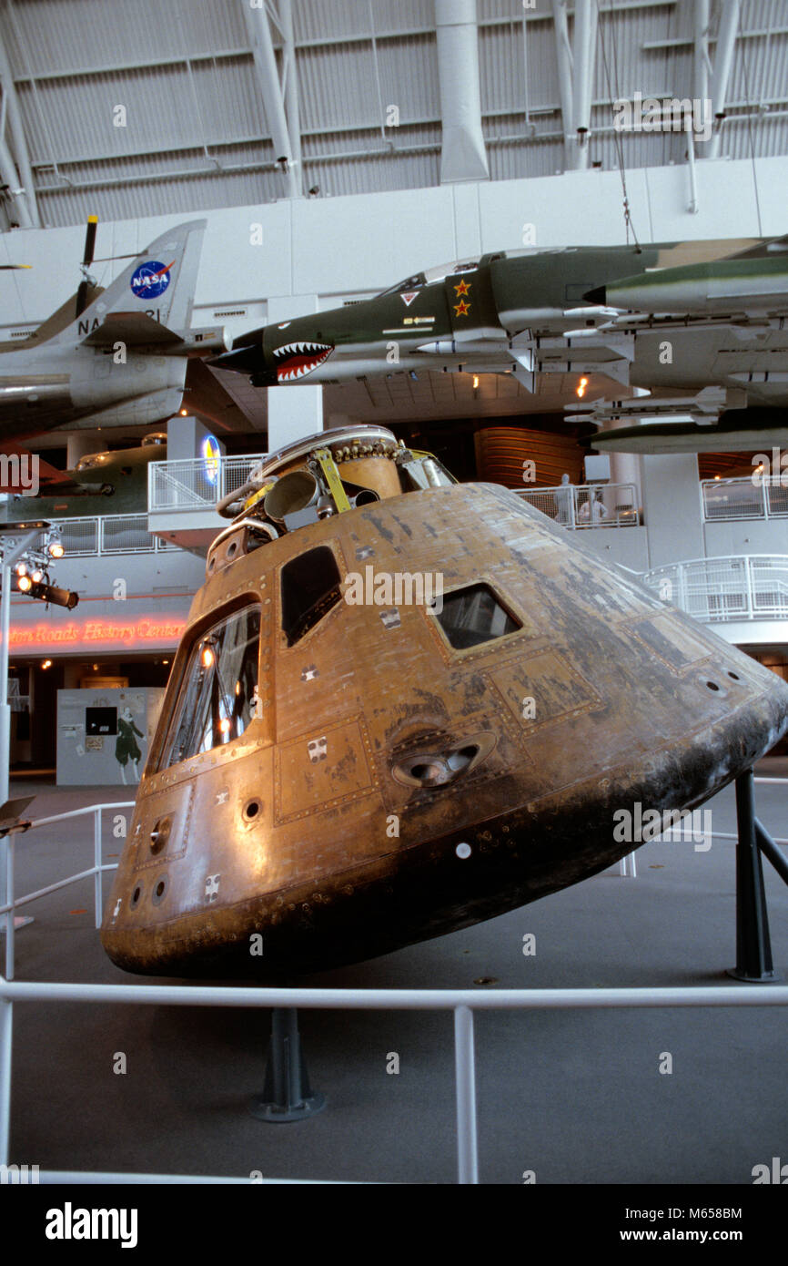 MODULE DE COMMANDE APOLLO 12 MONTRANT RE-ENTRY BURNS VIRGINIA AIR AND SPACE CENTER HAMPTON VIRGINIA USA - ka8991 Photo Stock