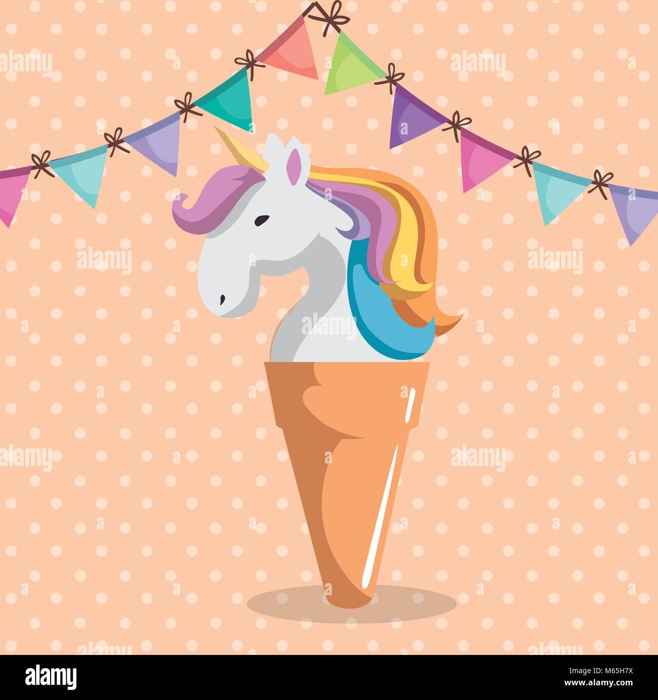 Unicorn Mignon Avec De La Glace Carte D Anniversaire
