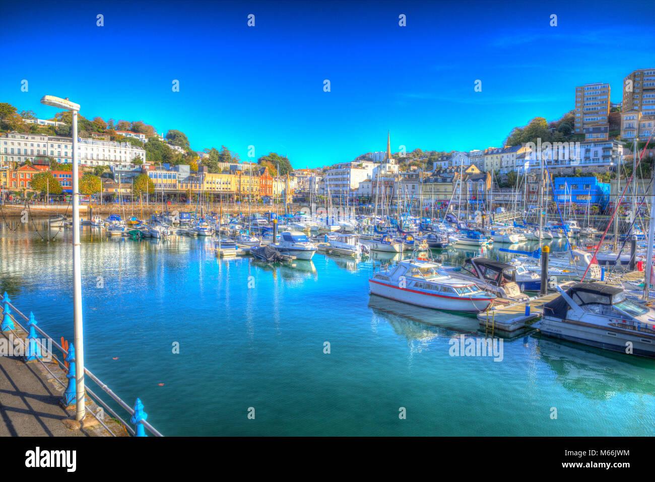 Torquay Devon port et port de plaisance avec des bateaux colorés en hdr au soleil Photo Stock