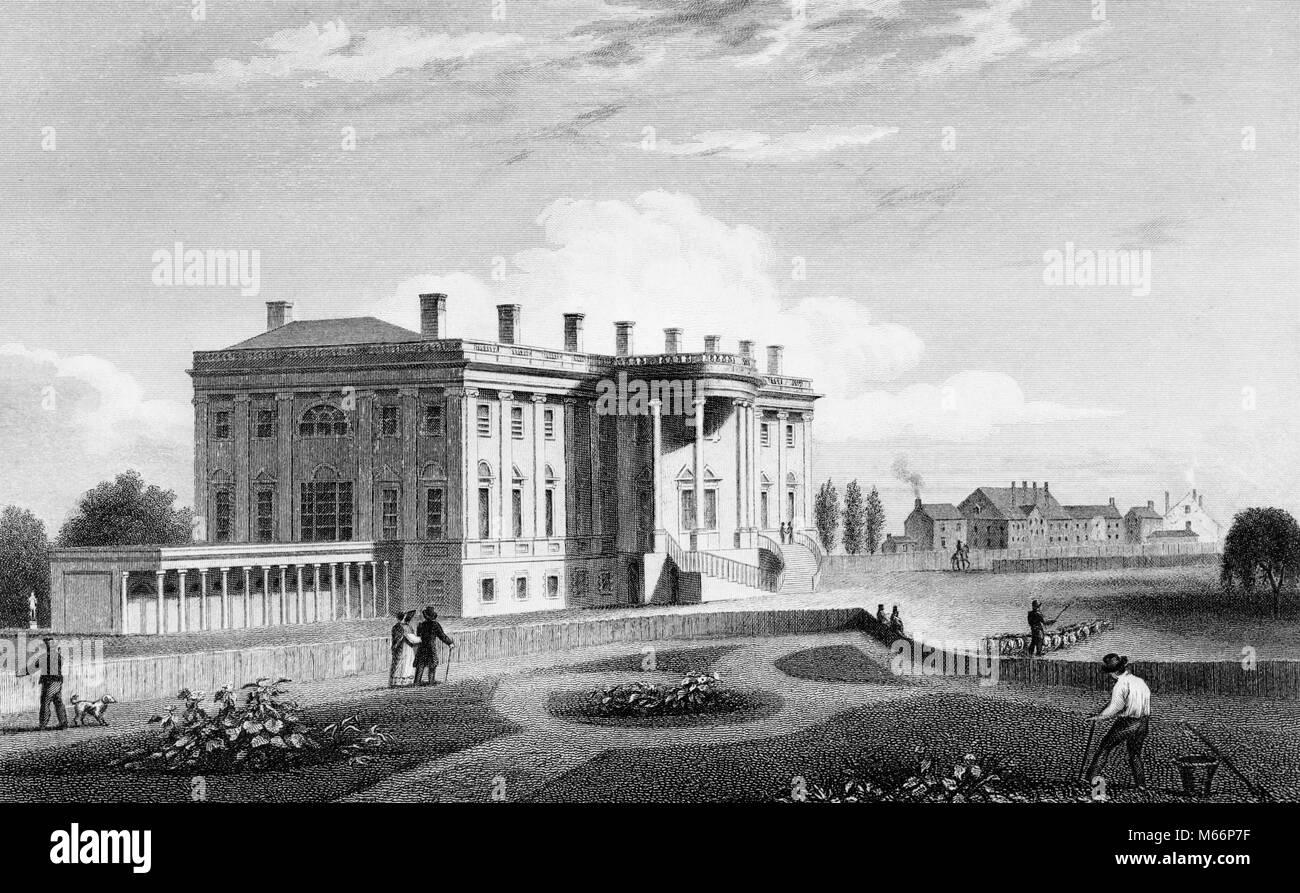 Années 1800 1835 VUE SUD-OUEST DU PORTIQUE SUD DE LA MAISON BLANCHE, WASHINGTON DC USA - q55246 CPC001 HARS Maison Blanche Banque D'Images