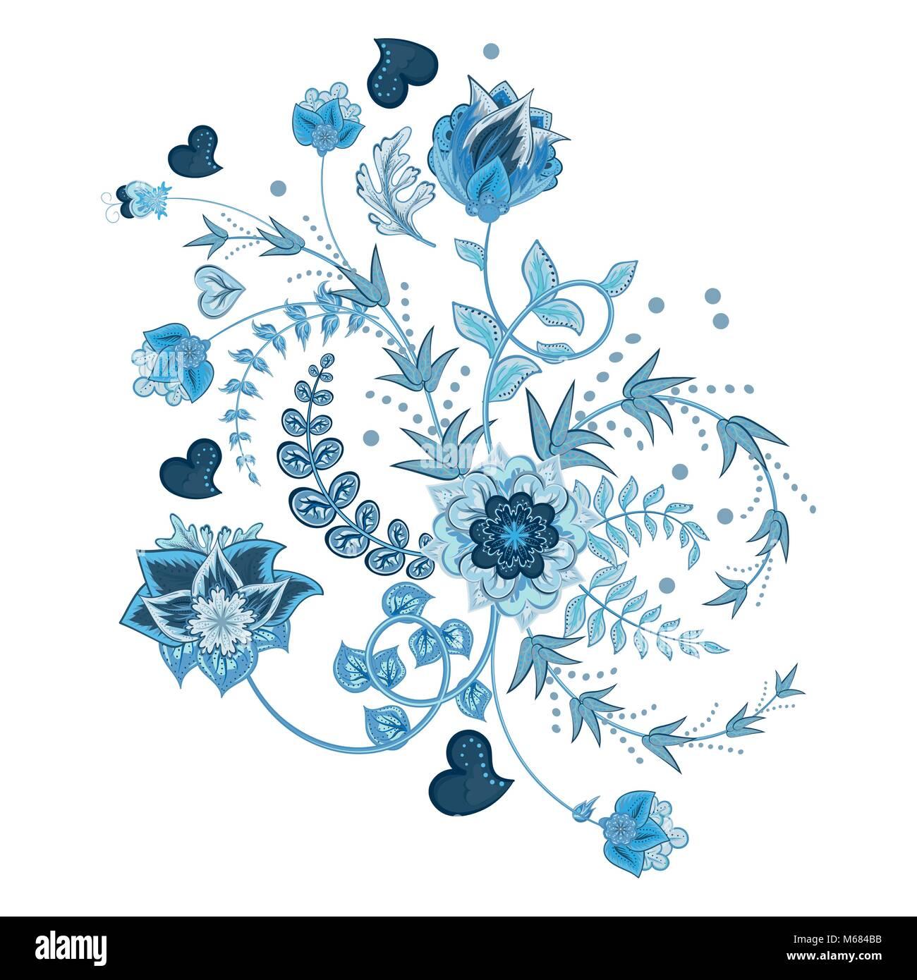 Stock Vector Abstract Part Dessiner Fleur Doodle Bouquet