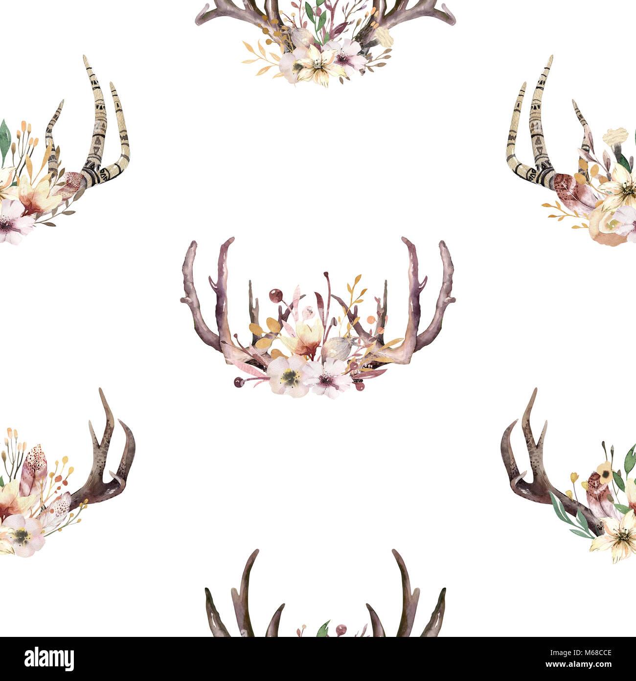 Motif de l 39 aquarelle transparente bohemiamn boho floral - Deco printempsidees avec fleurs et motif floral ...