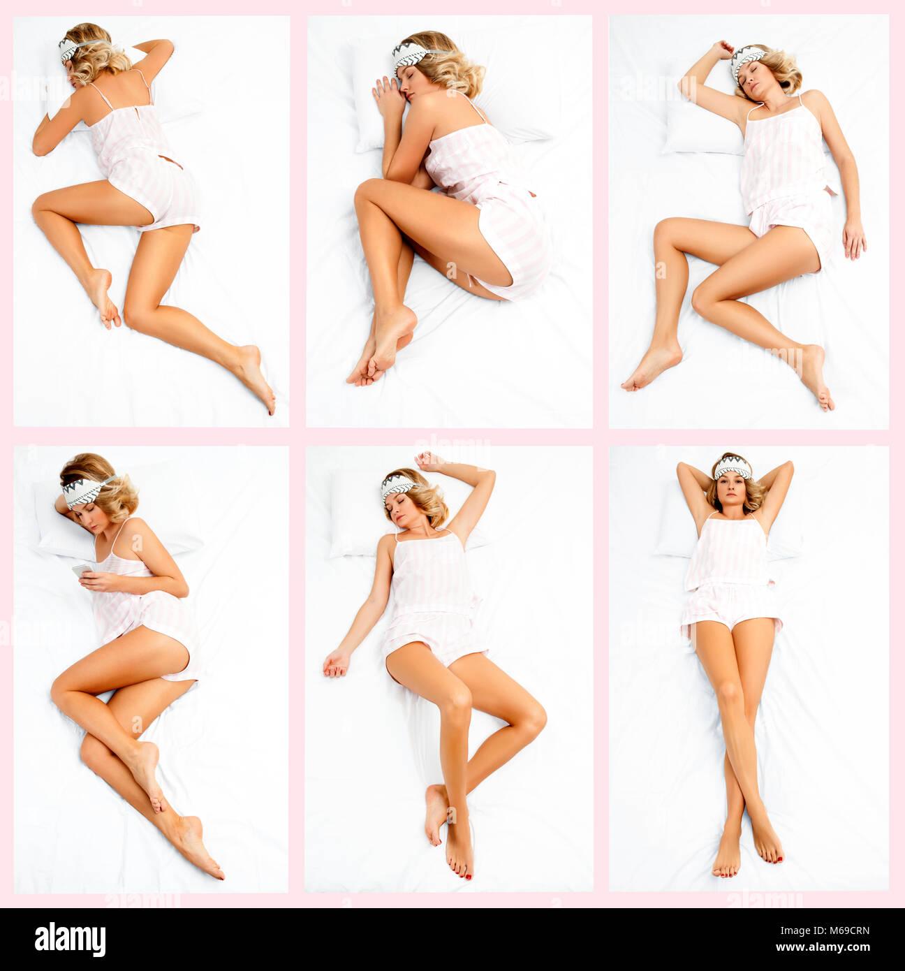 Dormir ensemble différentes poses. Belle jeune femme dormir sur le lit Photo Stock