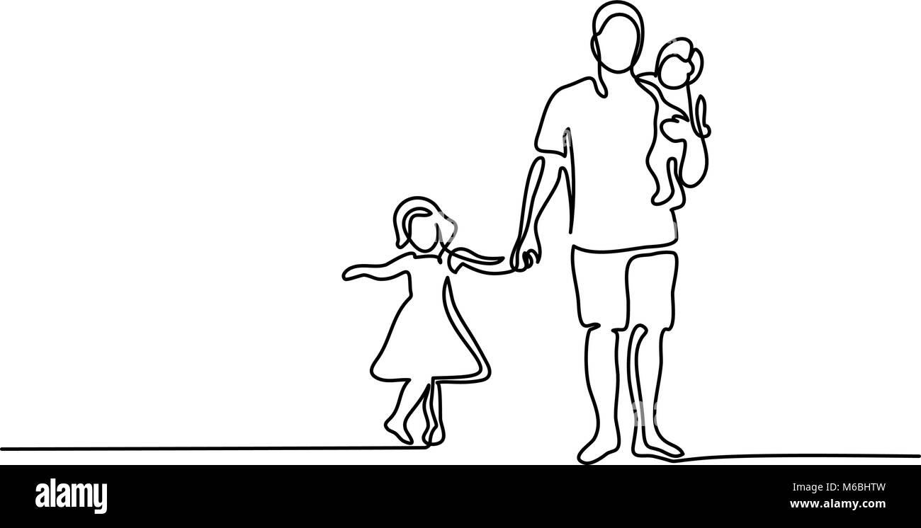 Avec Père Fils Fille silhouette Illustration de Vecteur