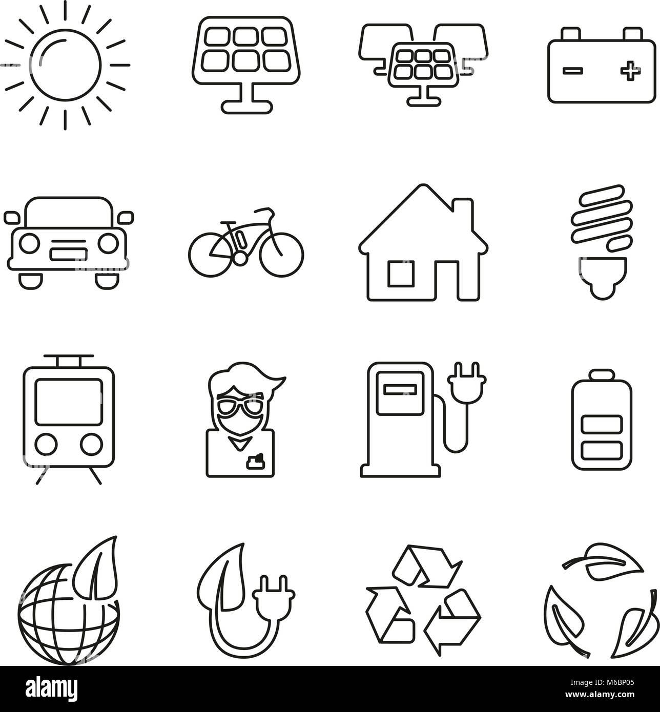 L'énergie solaire ou l'énergie renouvelable icônes fine ligne Vector Illustration Set Photo Stock