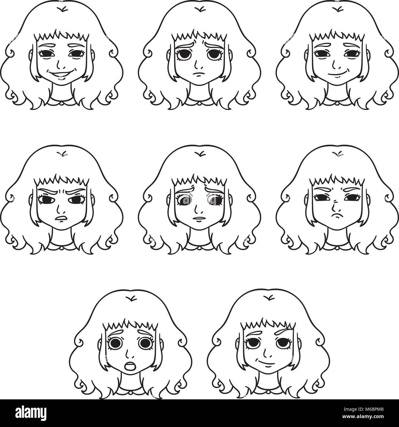 ensemble d 39 motions de la femme l 39 expression du visage girl avatar vector illustration. Black Bedroom Furniture Sets. Home Design Ideas