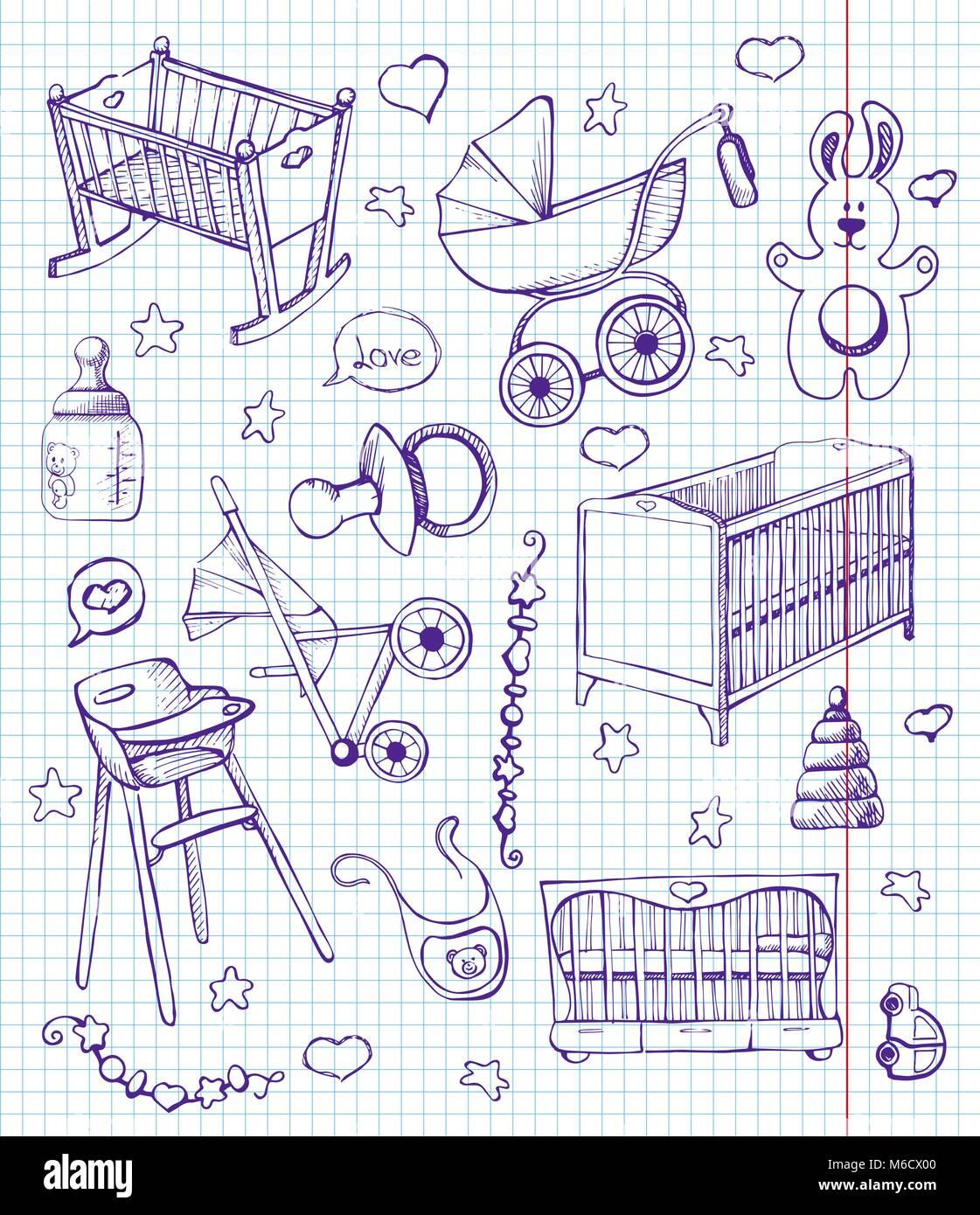 Ensemble De Meubles Vector Illustration Differents Croquis Pour