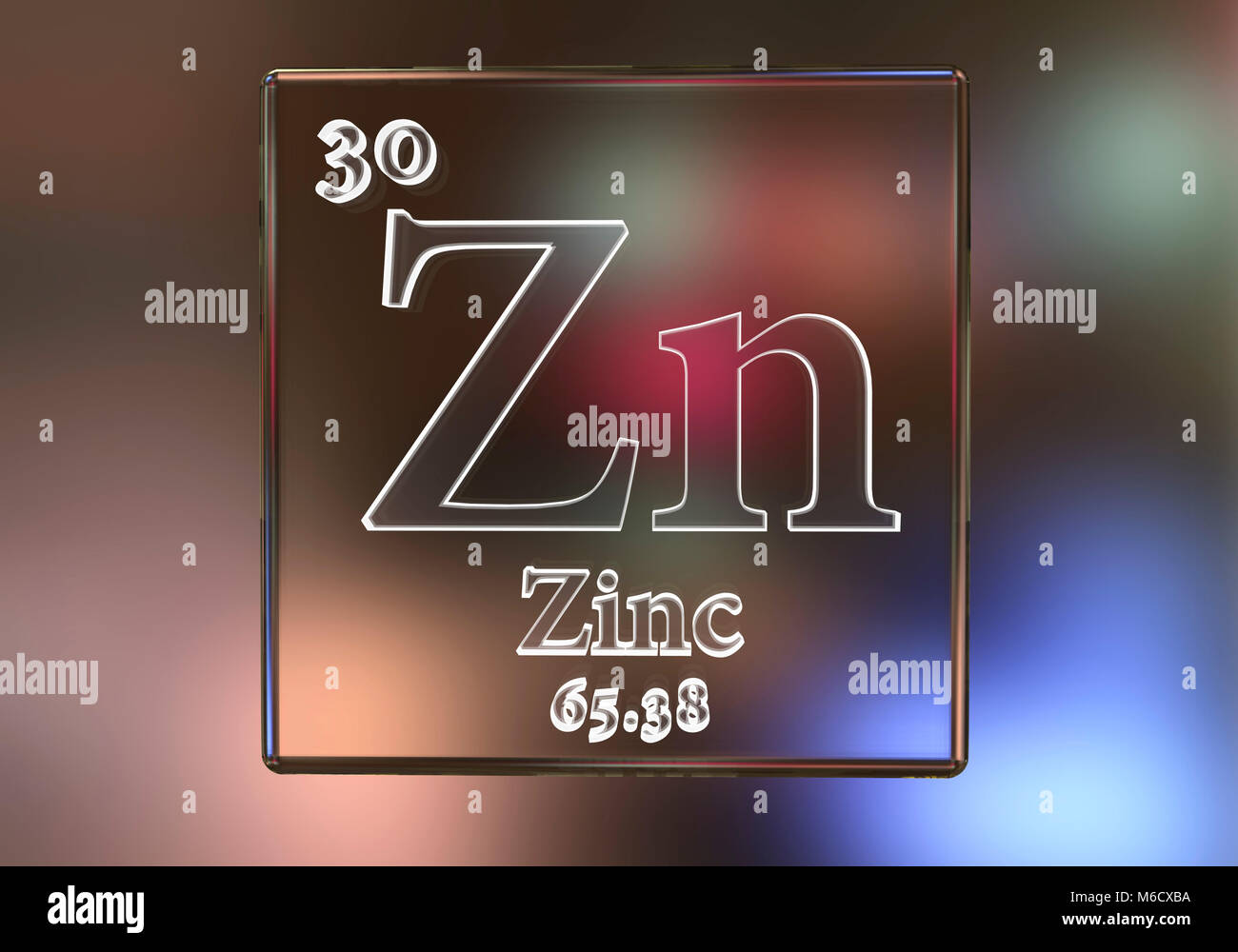 L'élément chimique Zinc, illustration de l'ordinateur. Photo Stock