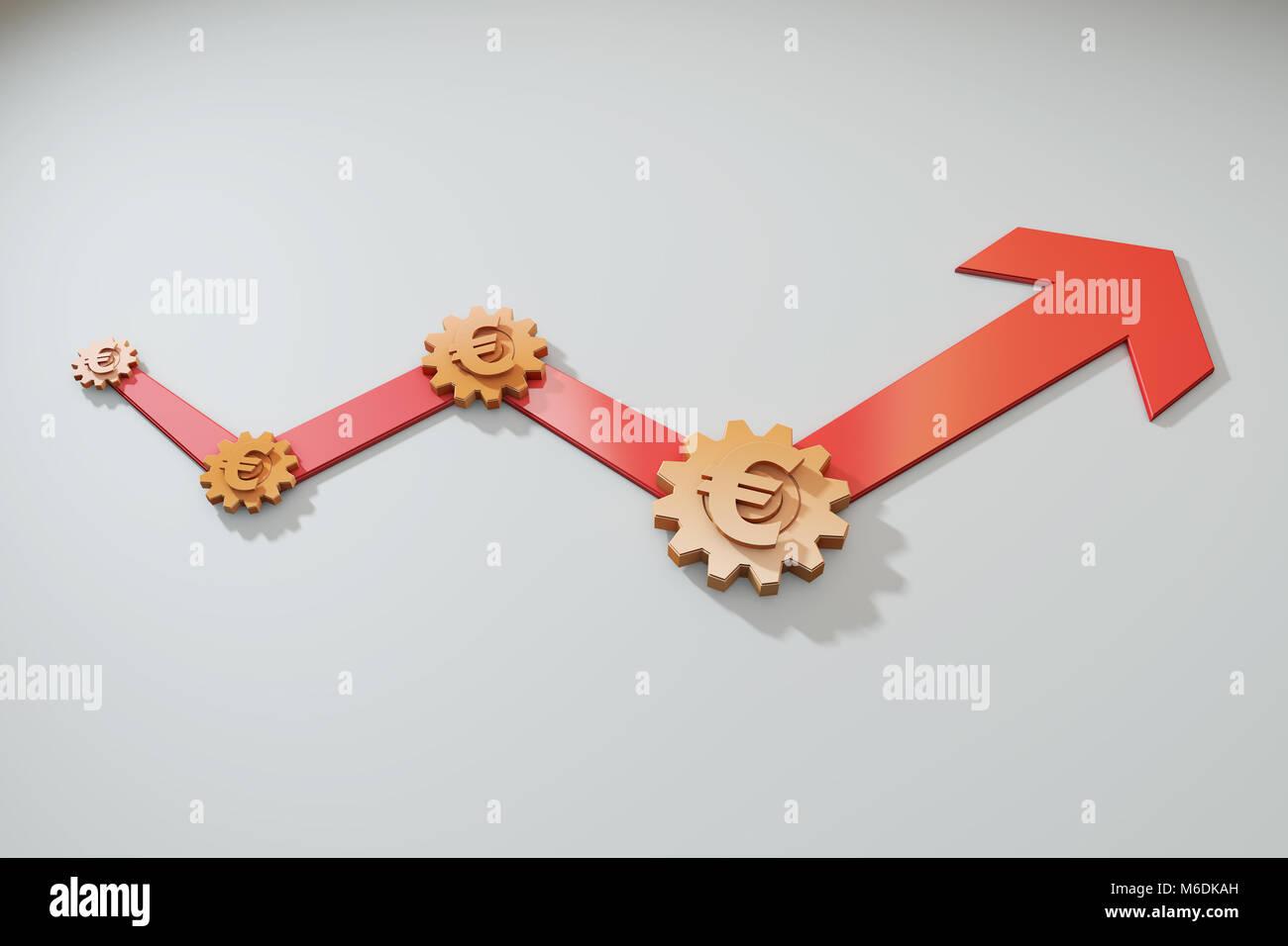 Flèches réussie et pignons, financière et économique, d'amélioration d'équipe Photo Stock