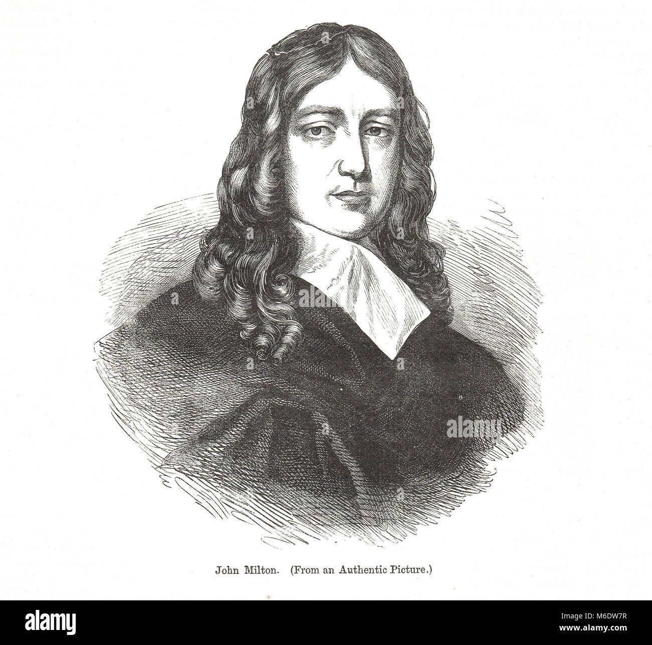 John Milton, 1608-1674, poète anglais, polemiste, homme de lettres, fonctionnaire pour le Commonwealth de Cromwell, et auteur de l'épique poème Paradis Perdu Banque D'Images