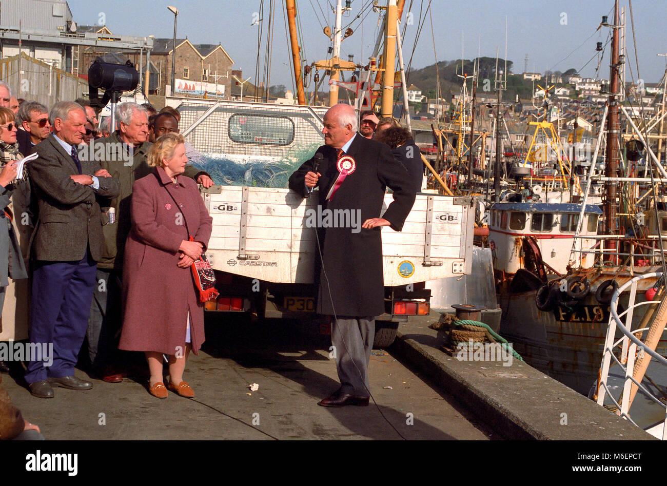Partie d'un référendum. 1997 élections britanniques Sir James Goldsmith faisant campagne dans Photo Stock