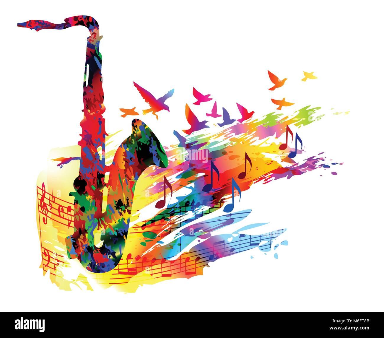 festival de musique de fond avec le saxophone et voler les oiseaux illustration vecteur de. Black Bedroom Furniture Sets. Home Design Ideas