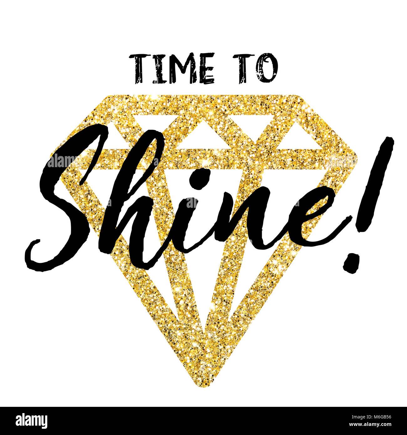 Diamant brillant dor avec une citation de temps pour - Diamant dessin ...