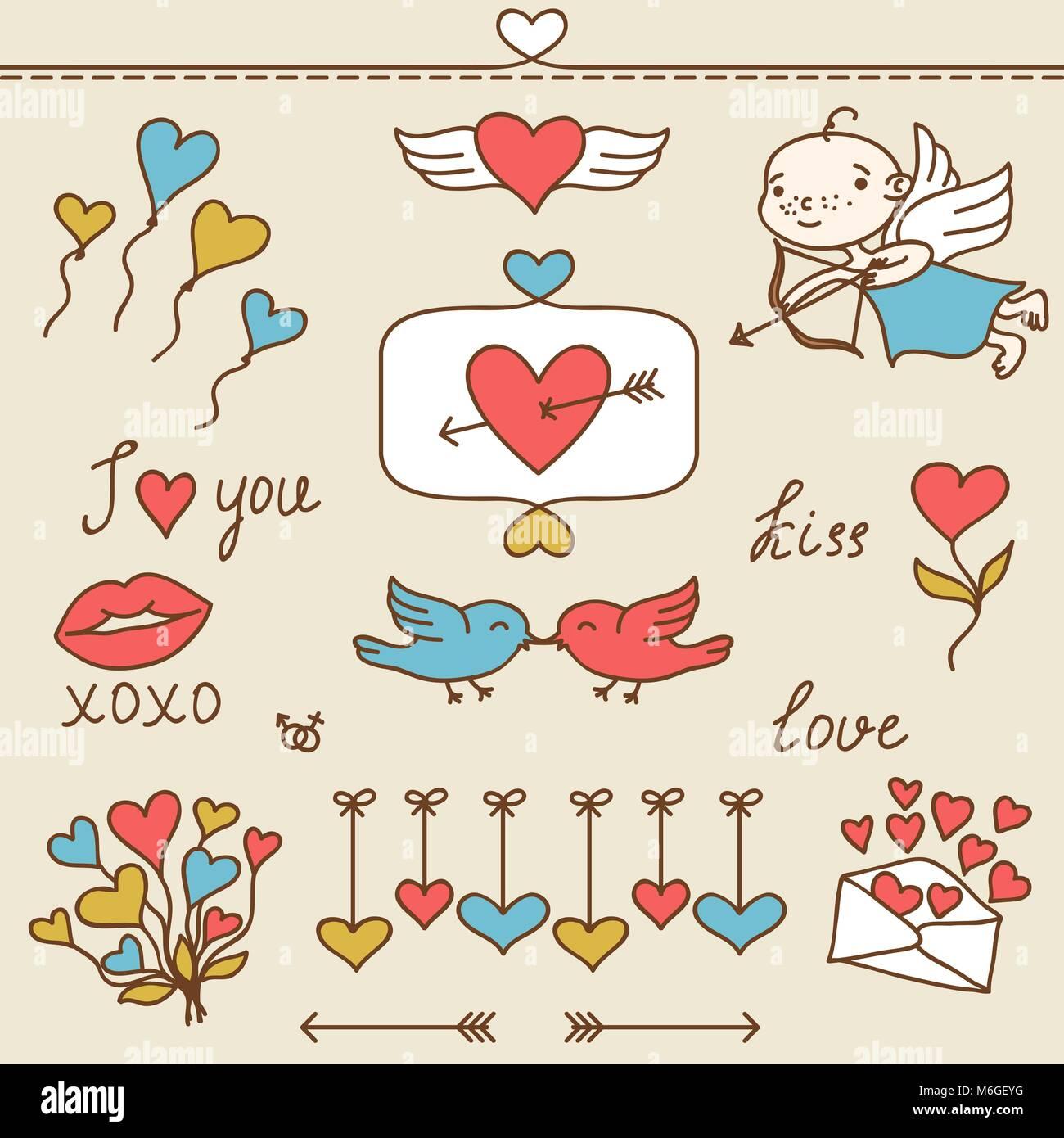 Ensemble de Valentine's cute doodles et des éléments de conception Illustration de Vecteur